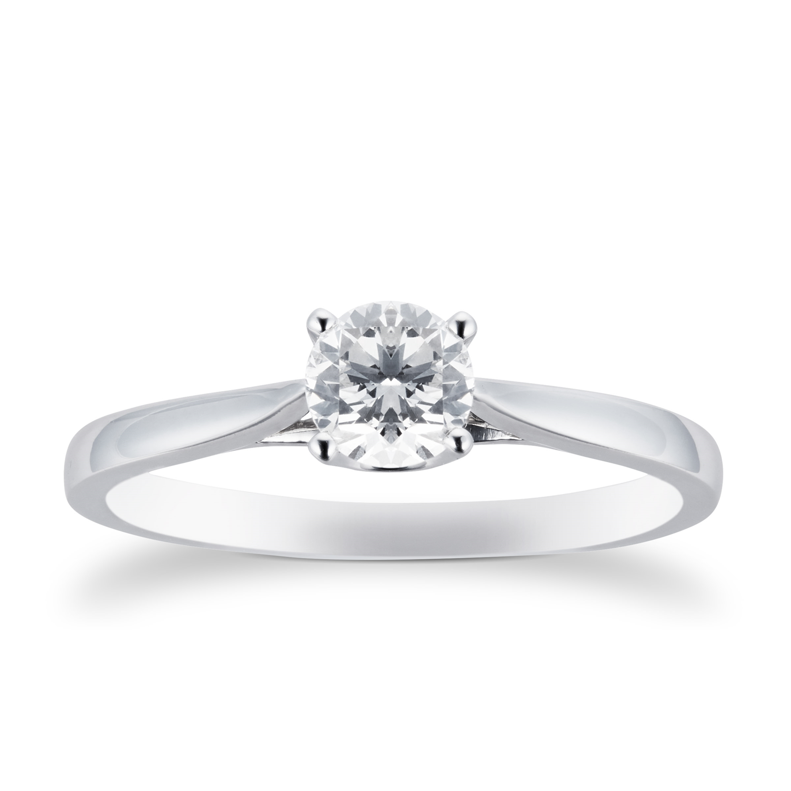 18ct White Gold Brilliant Cut 0.50 Carat 88 Facet Diamond Ring