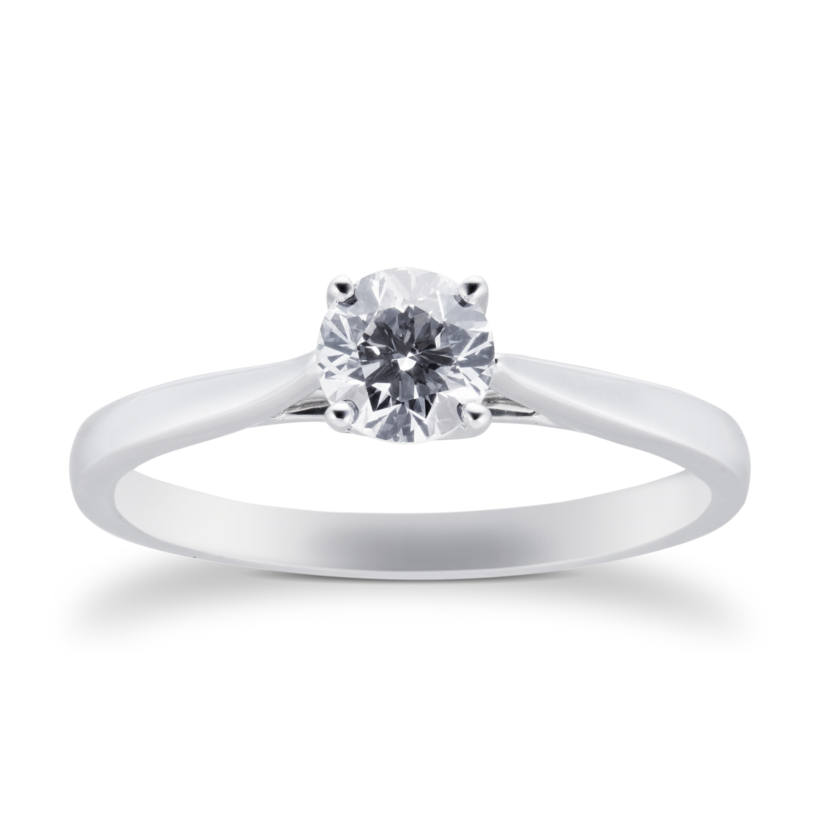 18ct White Gold Brilliant Cut 0.40 Carat 88 Facet Diamond Ring
