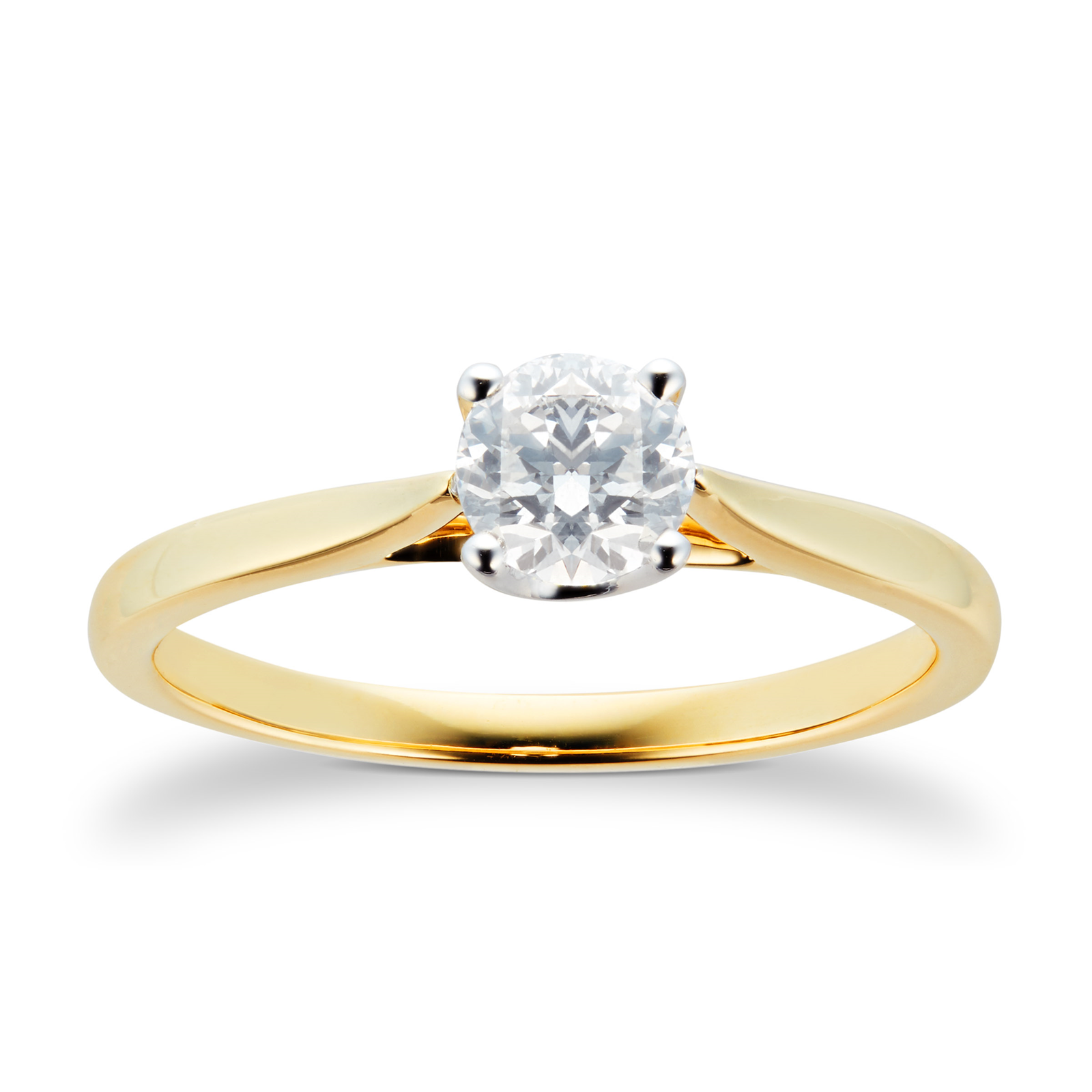 18ct Yellow Gold Brilliant Cut 0.50 Carat 88 Facet Diamond Ring