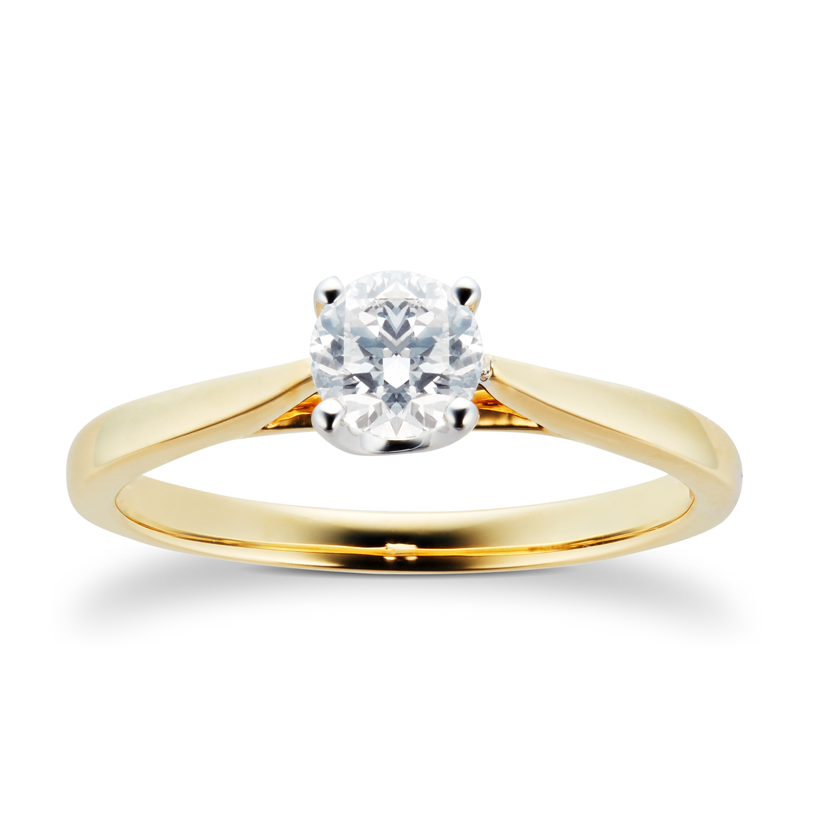 18ct Yellow Gold Brilliant Cut 0.40 Carat 88 Facet Diamond Ring