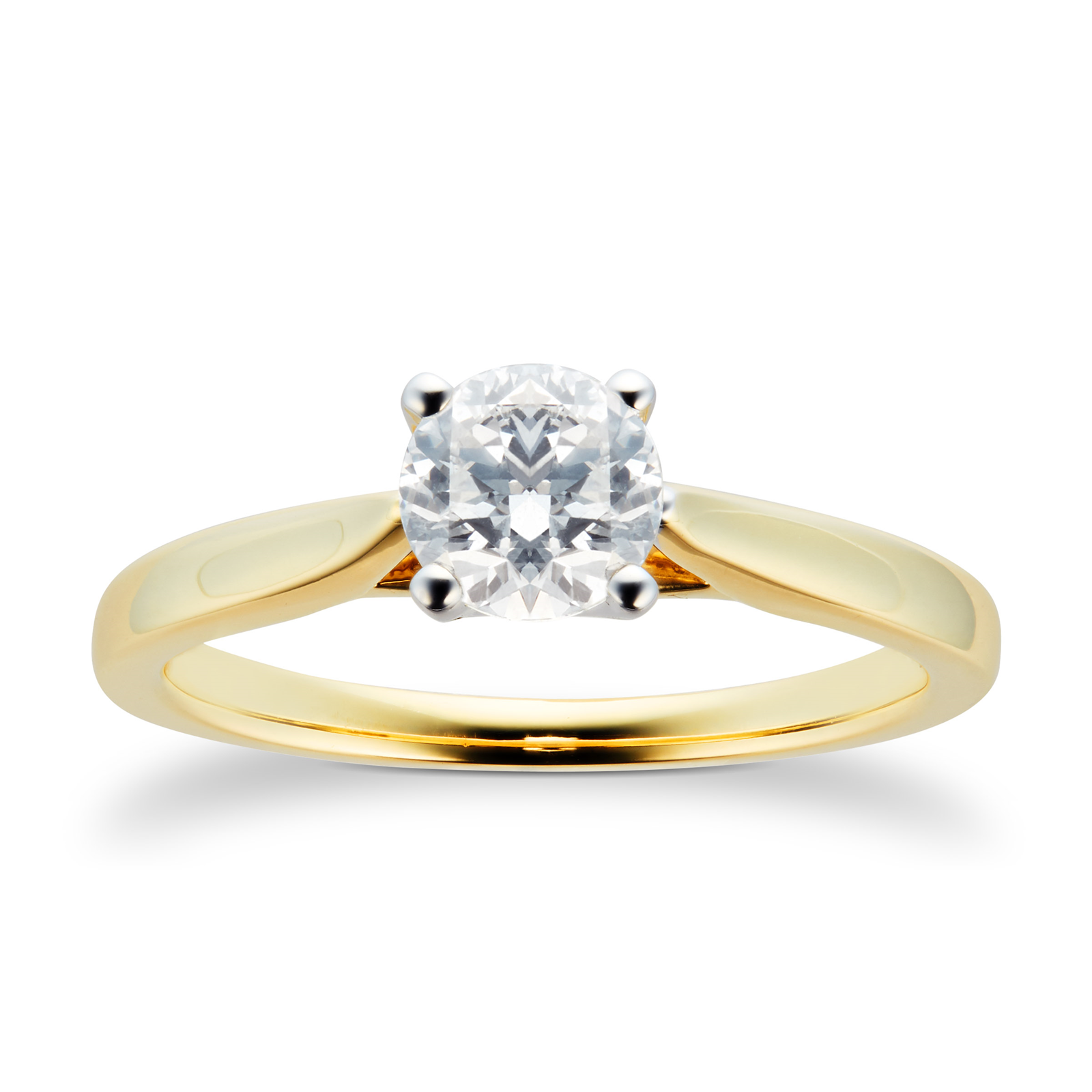 18ct Yellow Gold Brilliant Cut 0.70 Carat 88 Facet Diamond Ring