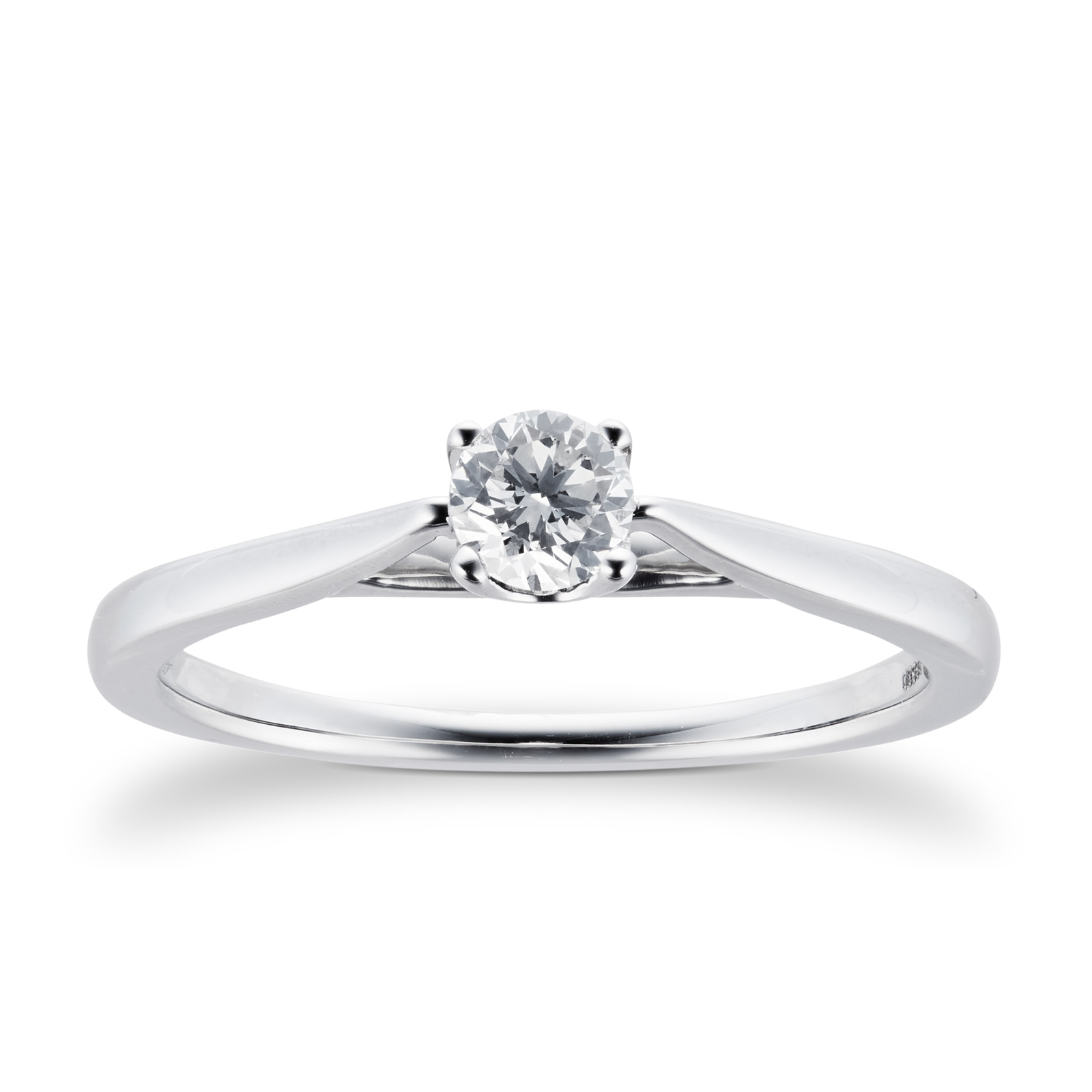 Platinum Brilliant Cut 0.25 Carat 88 Facet Diamond Ring