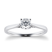 Platinum Brilliant Cut 0.40 Carat 88 Facet Diamond Ring