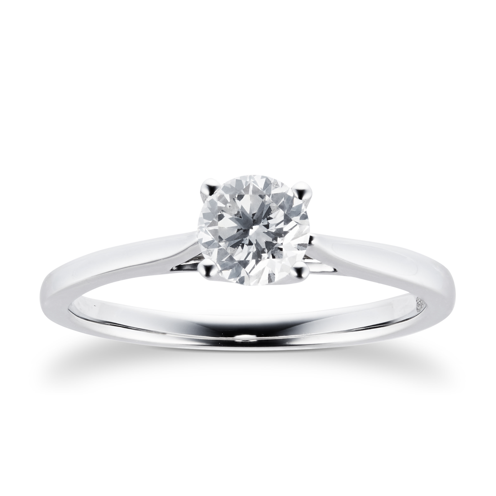 Platinum Brilliant Cut 0.50 Carat 88 Facet Diamond Ring