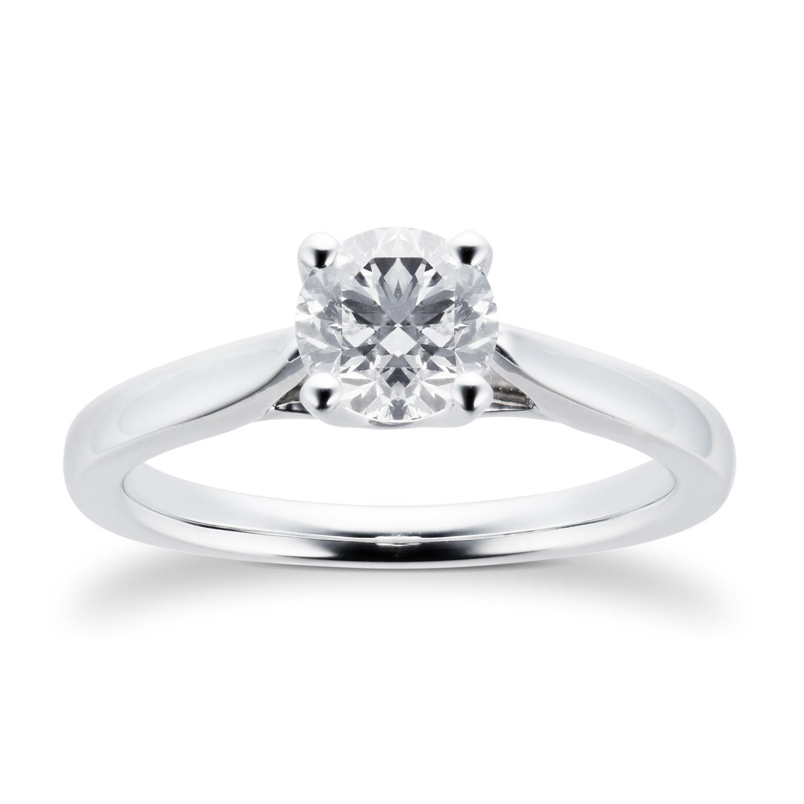 Platinum Brilliant Cut 0.70 Carat 88 Facet Diamond Ring
