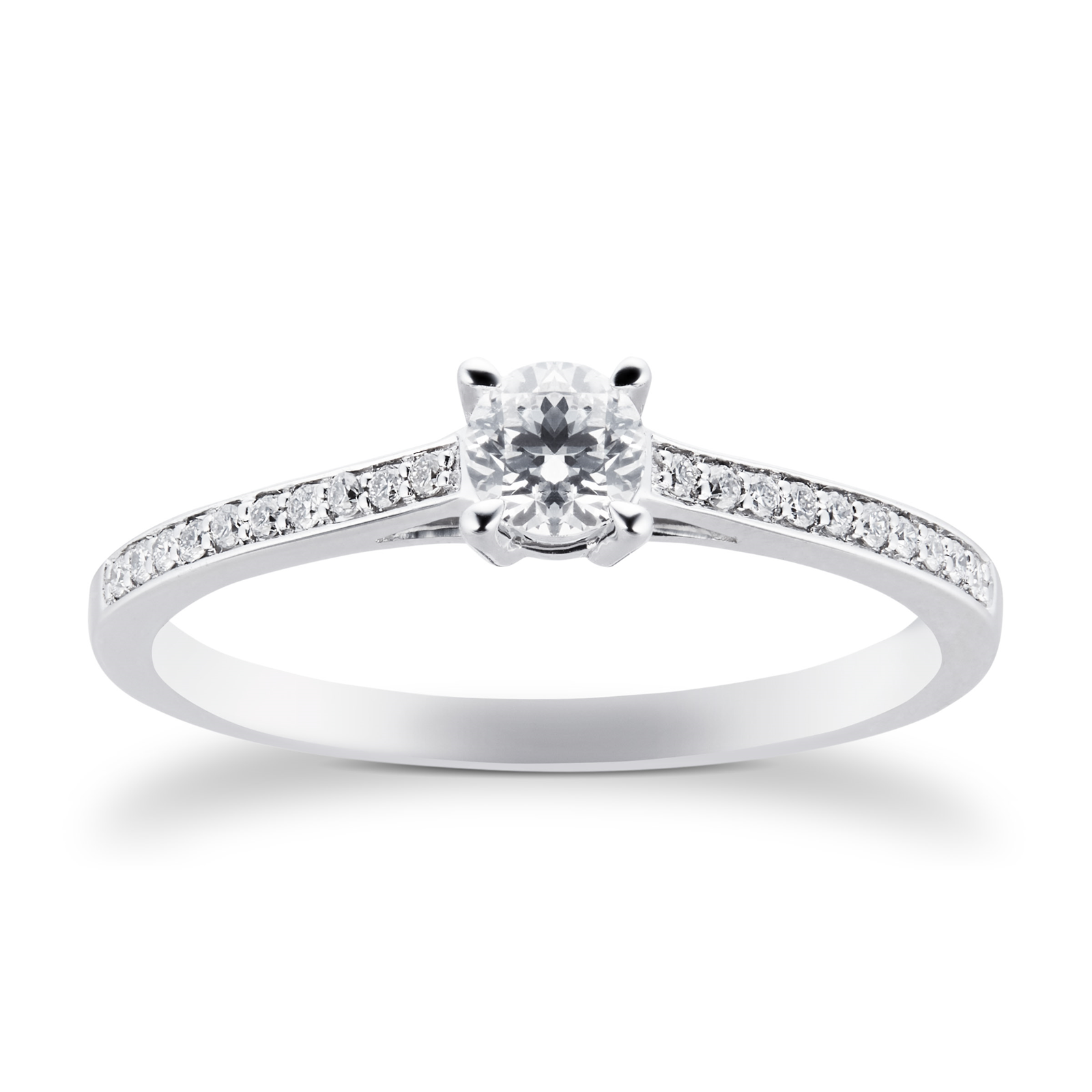 18ct White Gold Brilliant Cut 0.30 Carat 88 Facet Diamond Ring