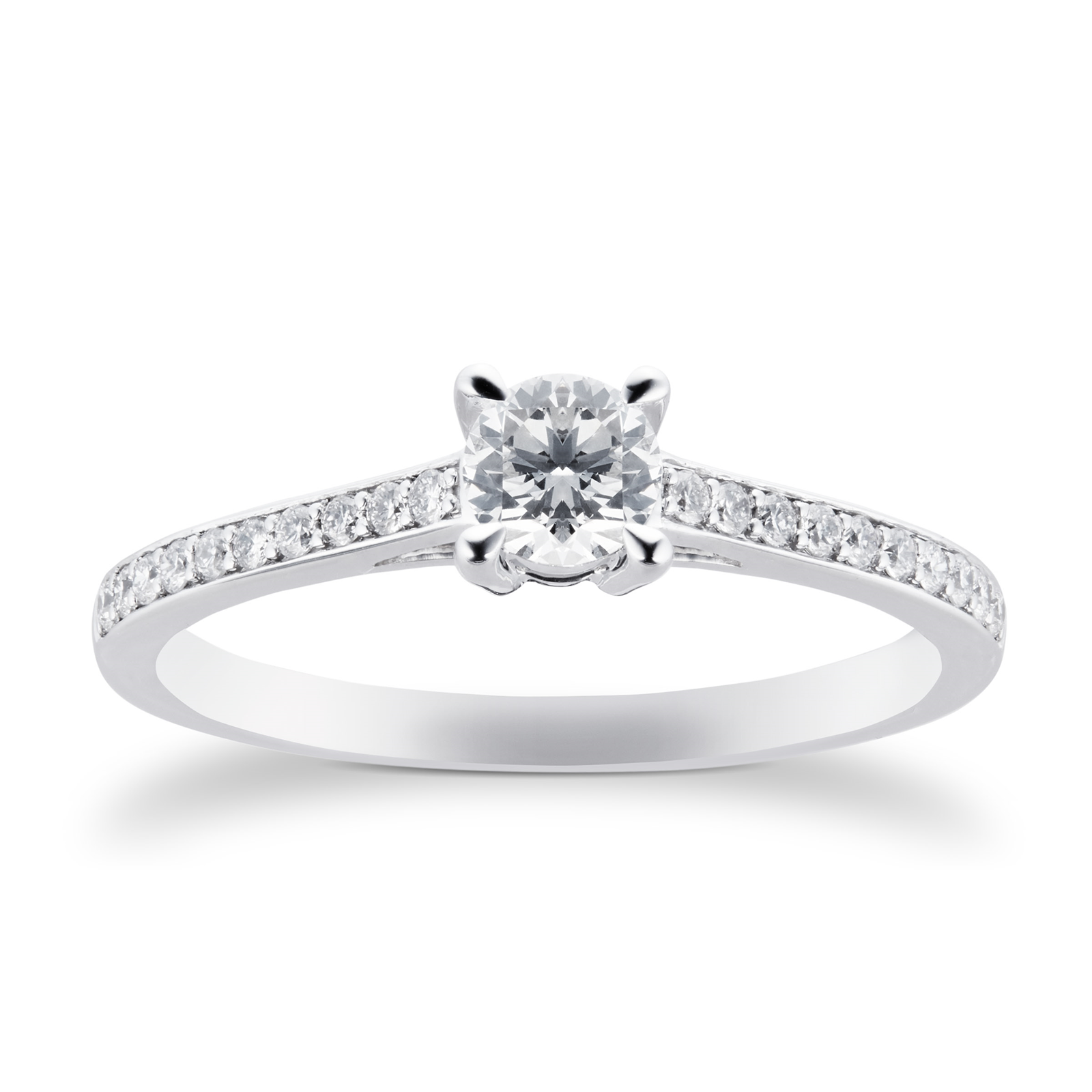 18ct White Gold Brilliant Cut 0.45 Carat 88 Facet Diamond Ring