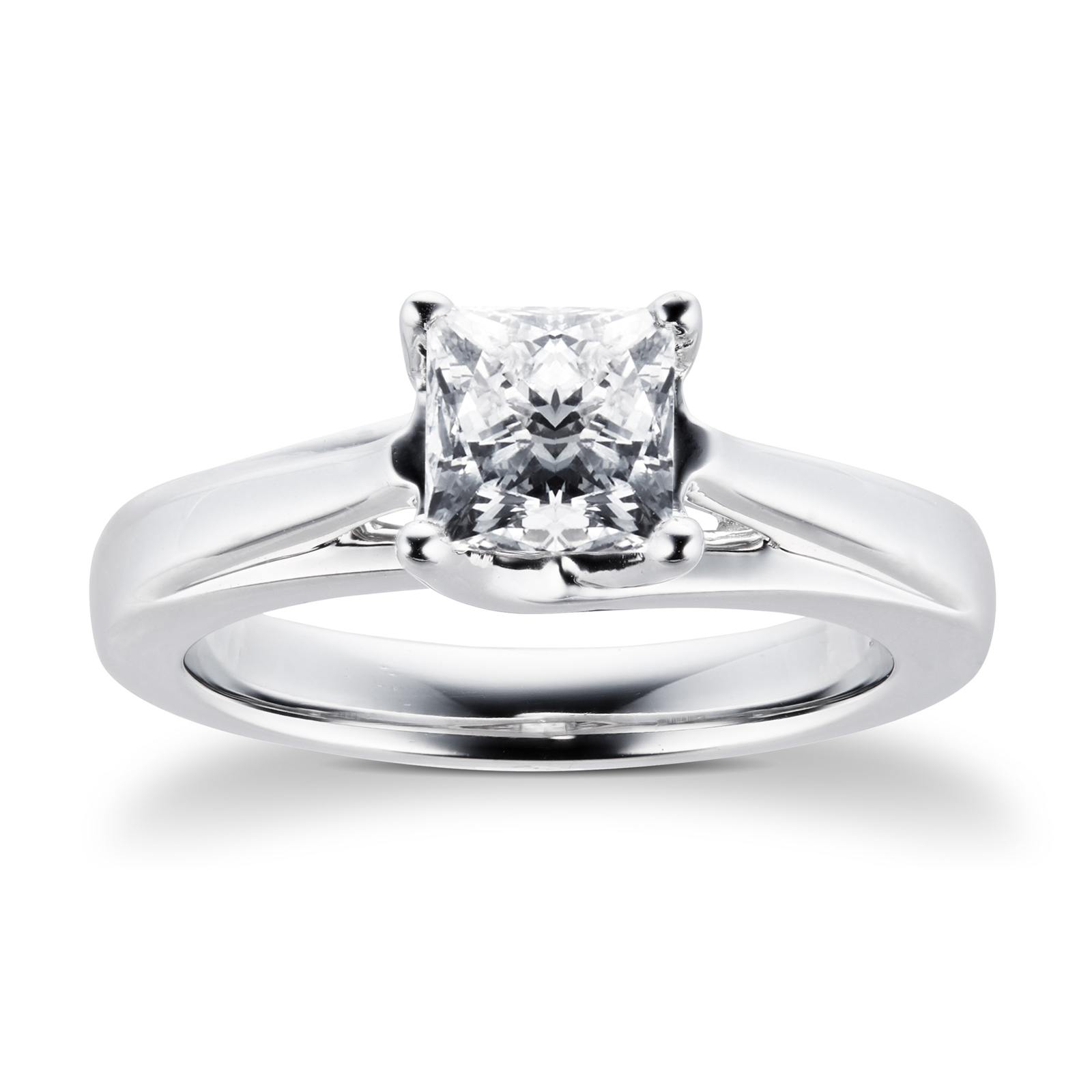 Platinum Princess Cut 1.00 Carat 88 Facet Diamond Ring