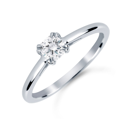 Platinum 0.40 Carat Diamond Plain Shoulder Engagement Ring