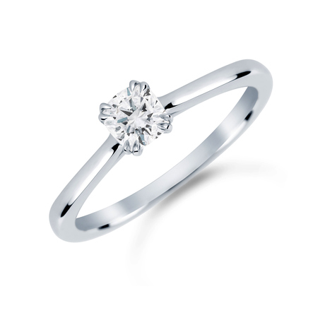 Platinum 0.50 Carat Diamond Plain Shoulder Engagement Ring