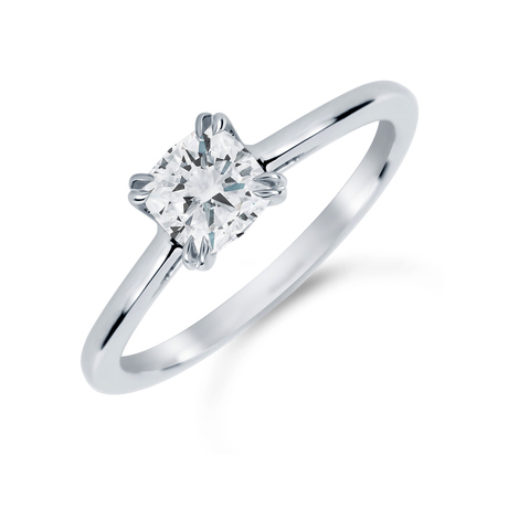 Platinum 0.70 Carat Diamond Plain Shoulder Engagement Ring