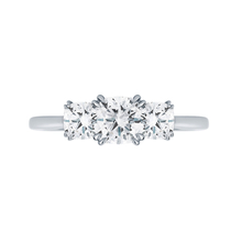 Platinum 1.20 Carat Total Weight Diamond Three Stone Ring