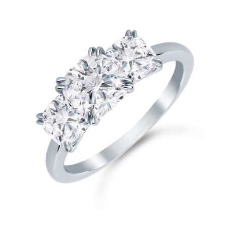 Platinum 2.00 Carat Total Weight Diamond Three Stone Ring