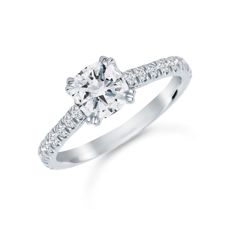 Platinum 1.60 Carat Total Weight Diamond Set Shoulder Engagement Ring