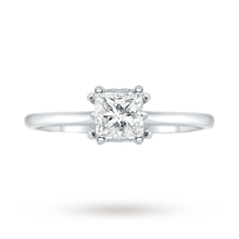 Platinum 0.50 Carat Diamond Princess Cut Engagement Ring