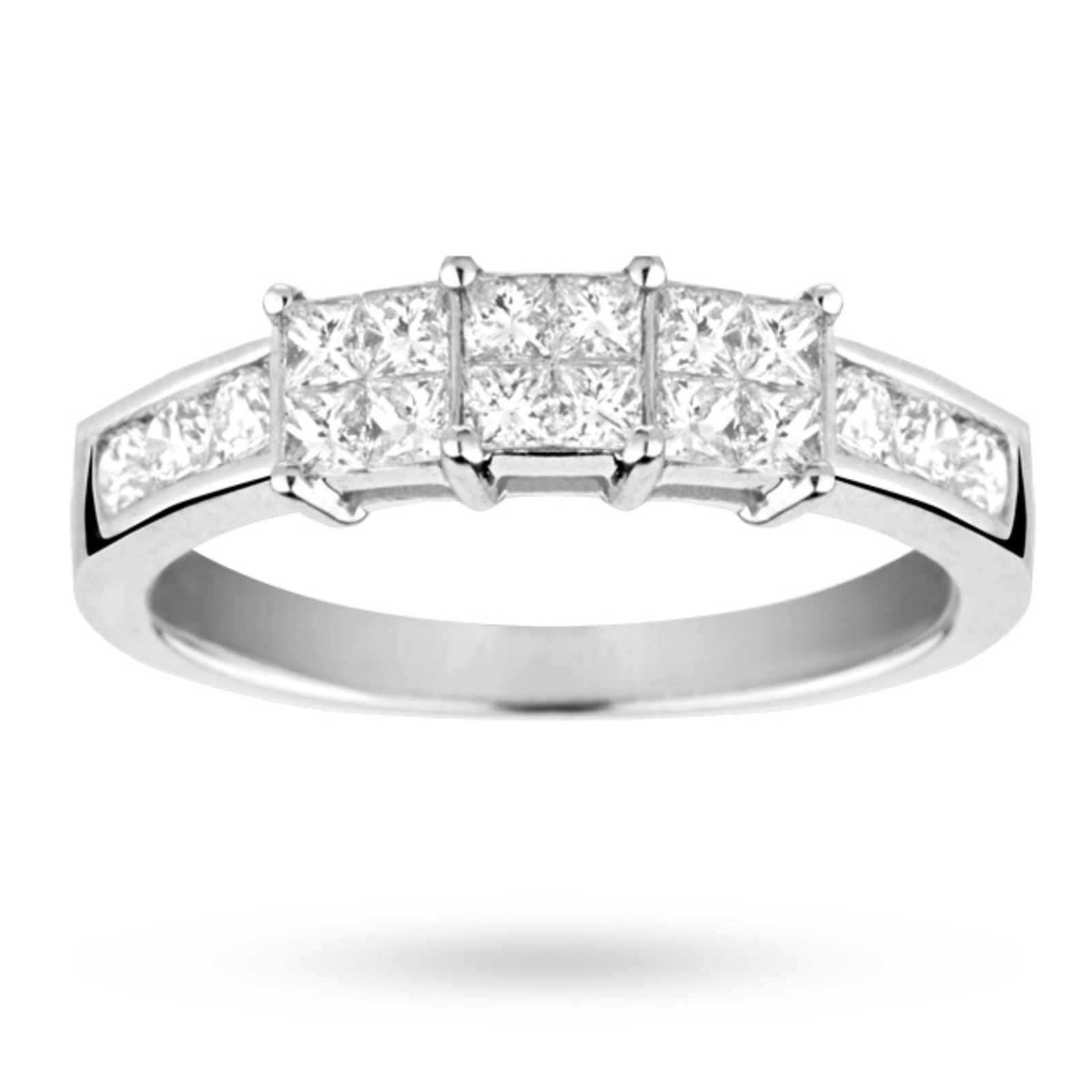 Princess cut 0.75 total carat weight cluster and diamond set shoulder ring set in 18 carat white gol