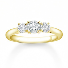 Mappin & Webb 18 Carat Yellow Gold 0.50 Carat 3 Stone Claw Set Engagement Ring