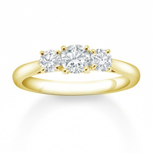 18 Carat Yellow Gold 0.75 Carat 3 Stone Claw Set Eternity Ring