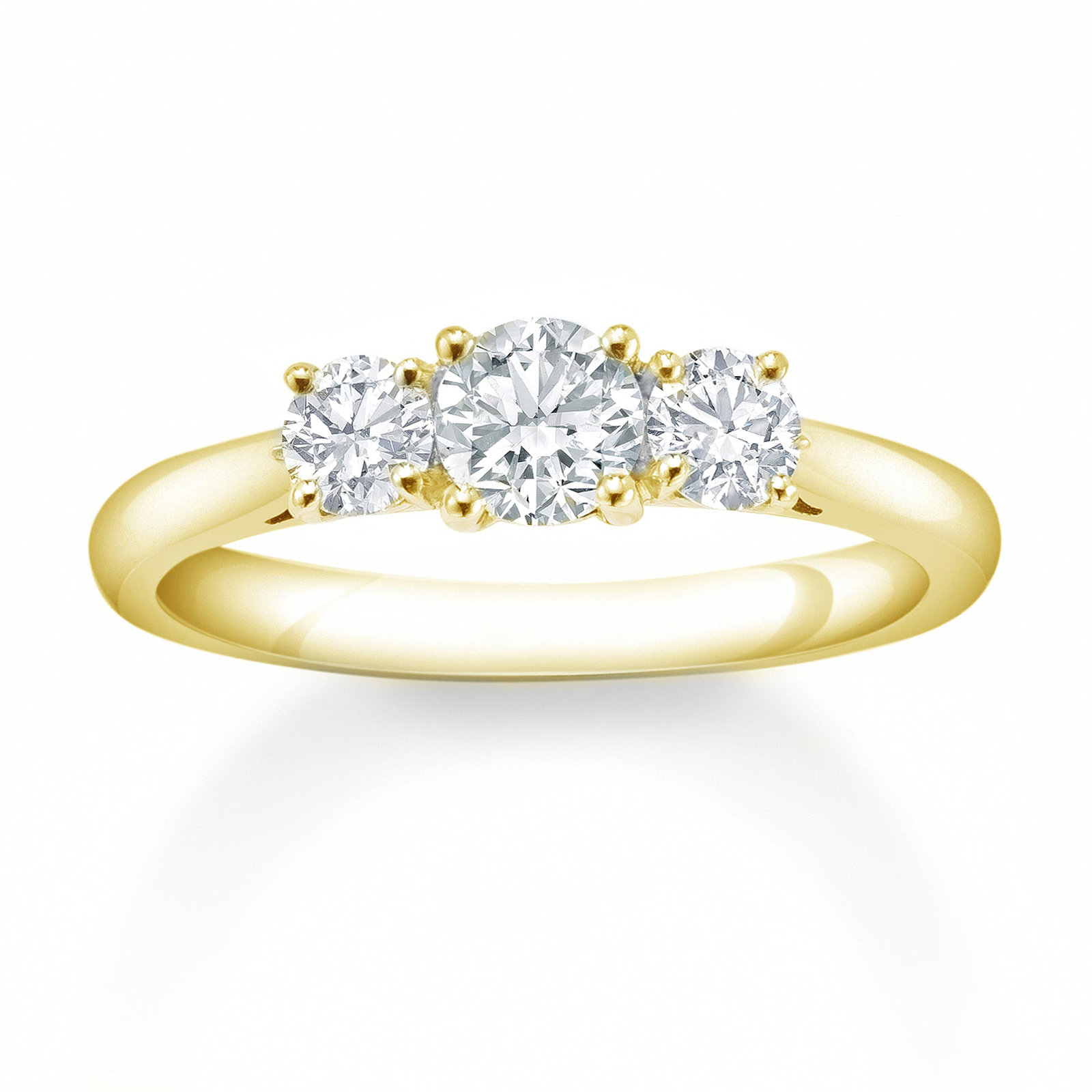 Mappin & Webb 18 Carat Yellow Gold 0.75 Carat 3 Stone Claw Set Eternity Ring