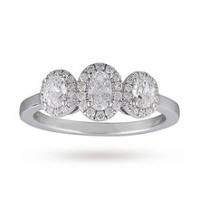 Canadian Ice Collection Oval Cut Three Stone 0.85 Total Carat Weight Diamond Ring in 18 Carat White Gold
