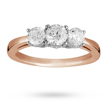 Brilliant Cut 1.00 Total Carat Weight Three Stone And Diamond Ring Set In 18 Carat Rose Gold