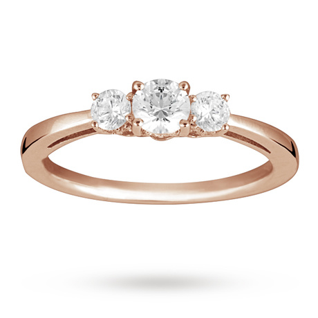 Brilliant Cut 0.50 Total Carat Weight Three Stone And Diamond Ring Set In 18 Carat Rose Gold