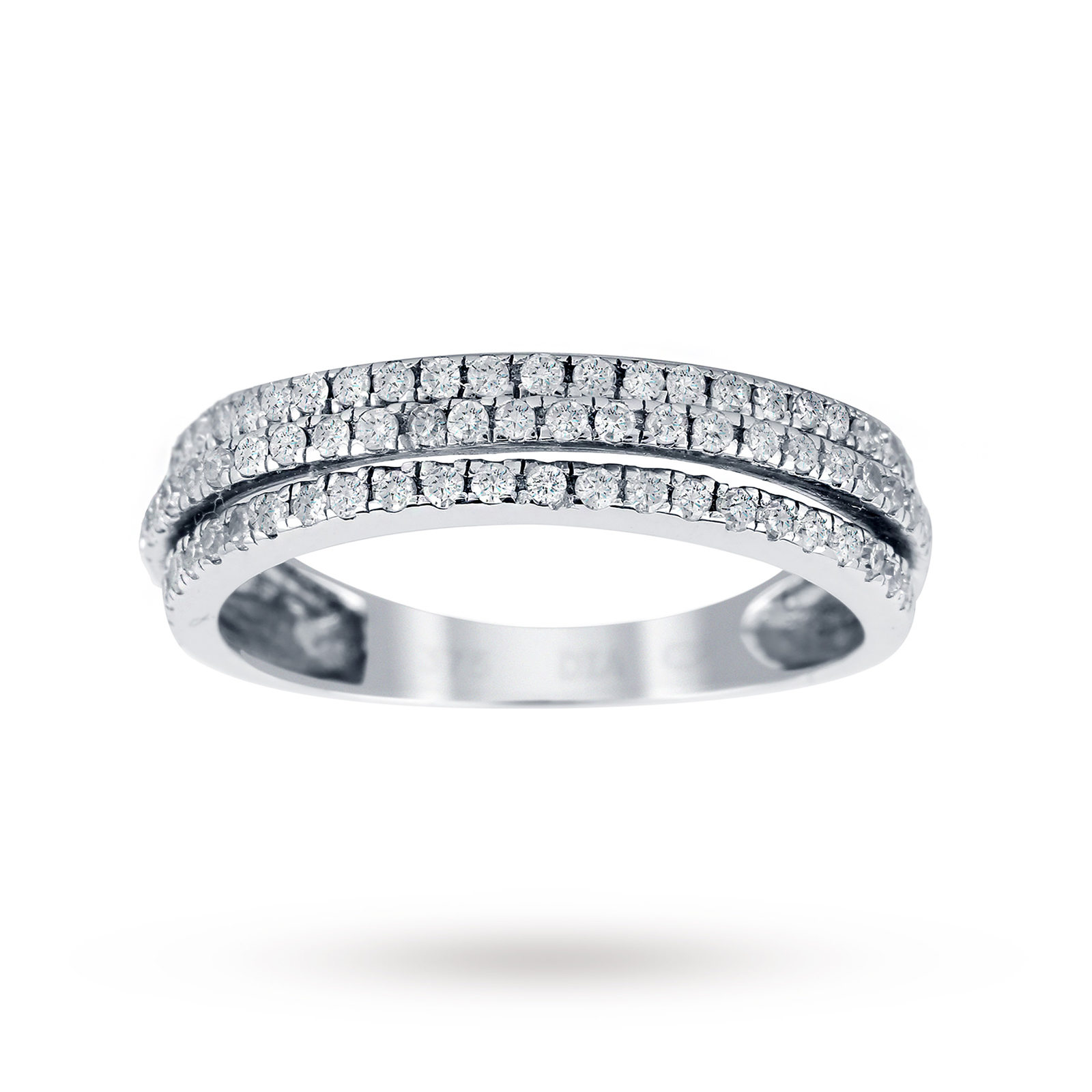 9ct White Gold 0.35cttw Round Brilliant Cut Diamond 3 Row Half Eternity Ring
