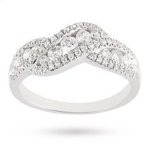 Brilliant Cut 0.75 Carat Total Weight Diamond Ring in 9 Carat White Gold