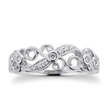 Brilliant Cut 0.10 Carat Total Weight Diamond Ring in 9 Carat White Gold