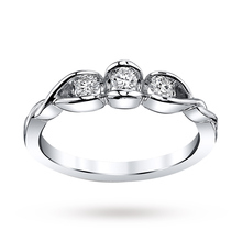 9 Carat White Gold 0.25 Carat Three Stone Sirena Ring