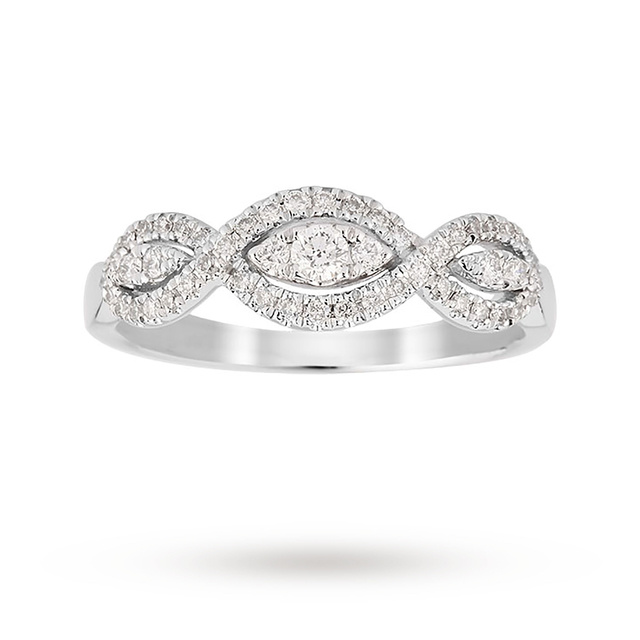 18ct White Gold 0.33ct Diamond Triple Marquise Ring