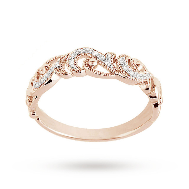 Brilliant Cut 0.10ct Total Weight Diamond Ring In 9ct Rose Gold