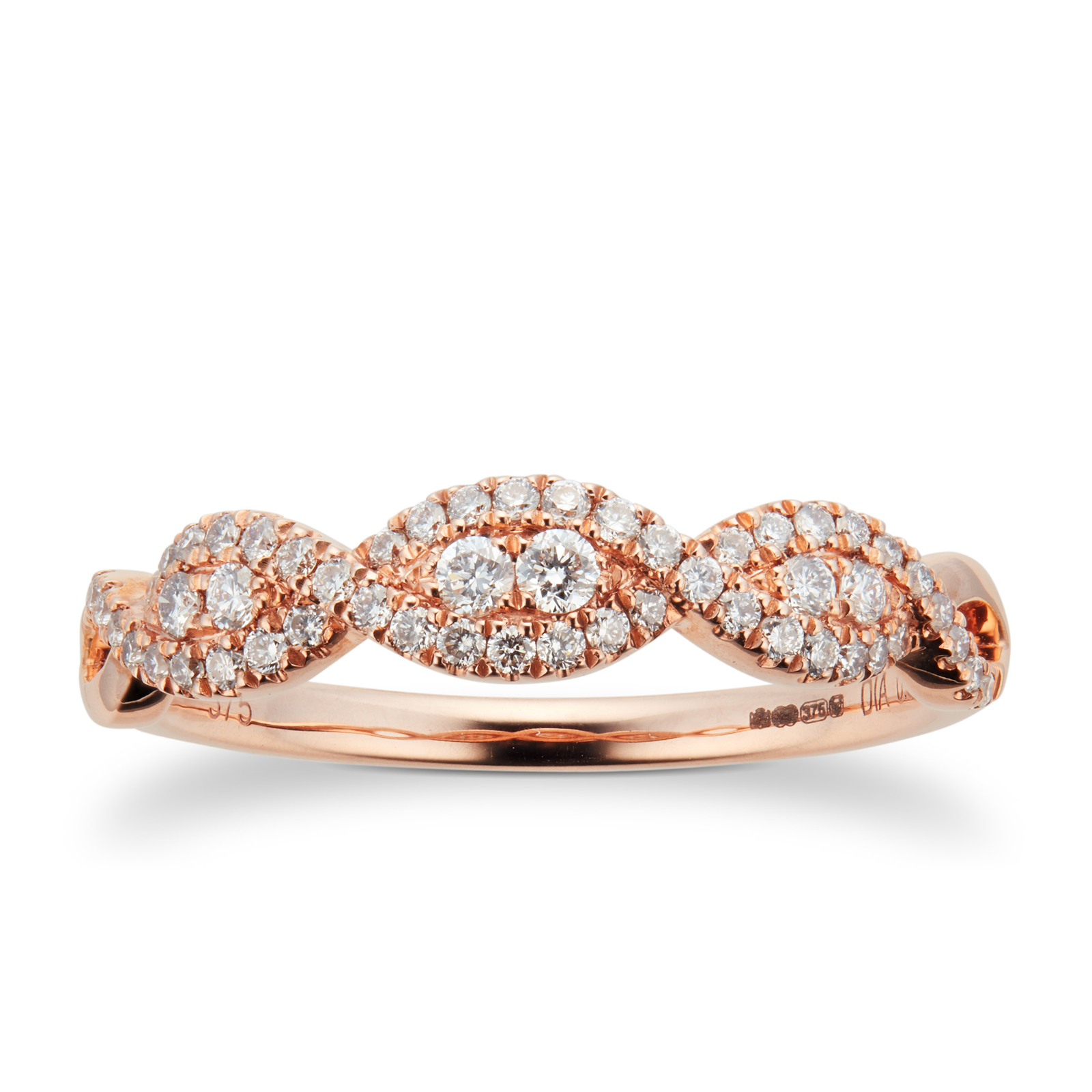 9ct Rose Gold 0.33ct Diamond Wrap Dress Ring
