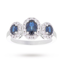 18 Carat White Gold Sapphire and Diamond Three Stone Ring