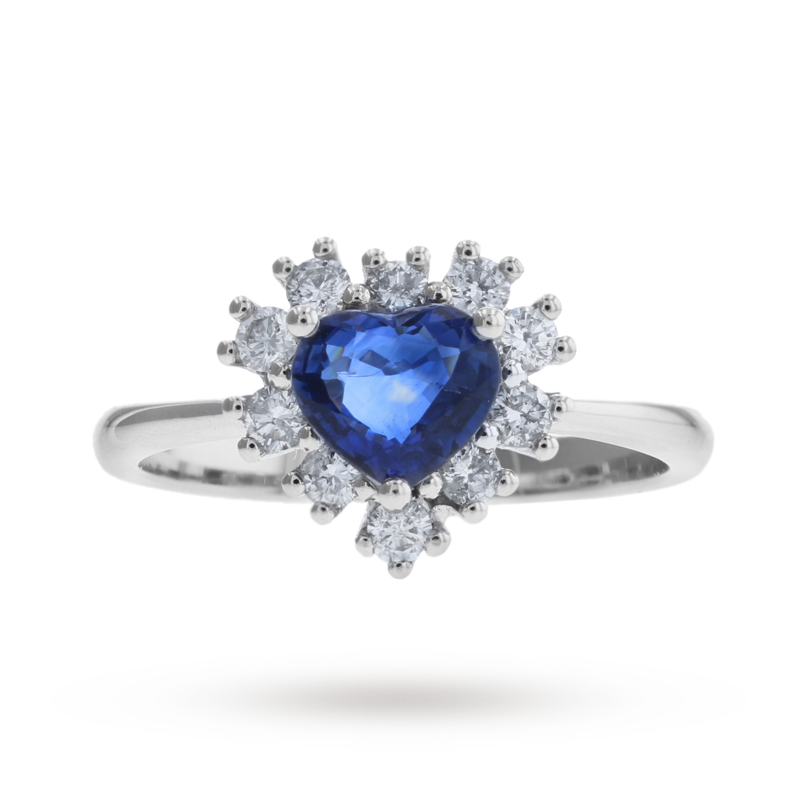 18 Carat White Gold Heart Shaped Sapphire and Diamond Ring