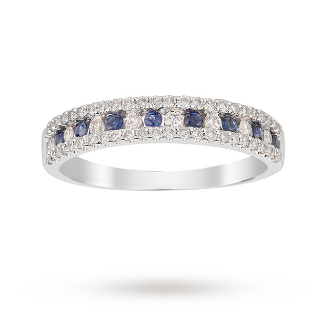 9ct White Gold Sapphire and 0.37ct Diamond Dress Ring