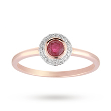 Brilliant Cut Ruby Ring in 9 Carat Rose Gold
