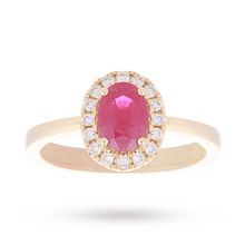 18 Carat Yellow Gold Ruby and Diamond Ring