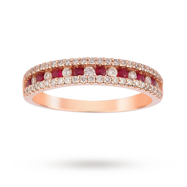 9ct Rose Gold Ruby and 0.37cttw Diamond Dress Ring