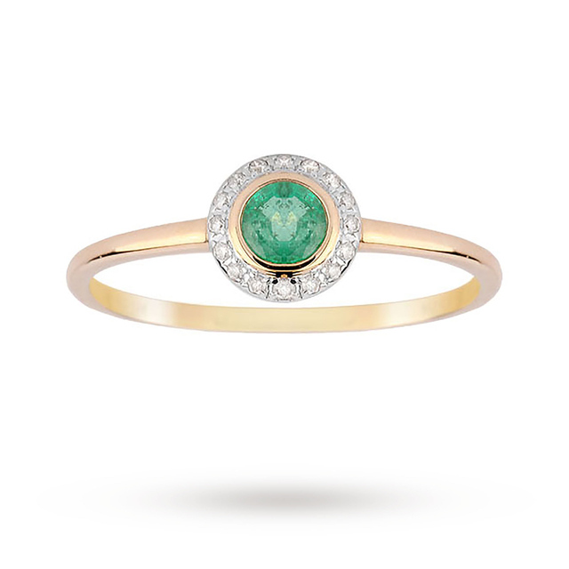 18ct Yellow Gold Emerald and 0.06ct Diamond Ring