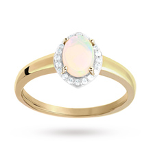Marquise Cut Opal and Diamond Set Ring in 9 Carat Yellow Gold