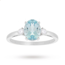 9 Carat White Gold 1.10 Carat Aquamarine with 0.11 Carat Diamond Oval Ring