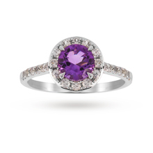 9ct White Gold 6x6mm Amethyst And 0.46ct Diamond Round Halo Ring