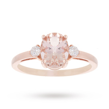 9ct Rose Gold Morganite and 0.11 Carat Diamond Oval Ring