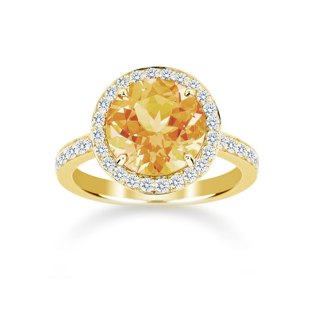 Carrington 18ct Yellow Gold 3.00ct Citrine and 0.45cttw Diamond Ring