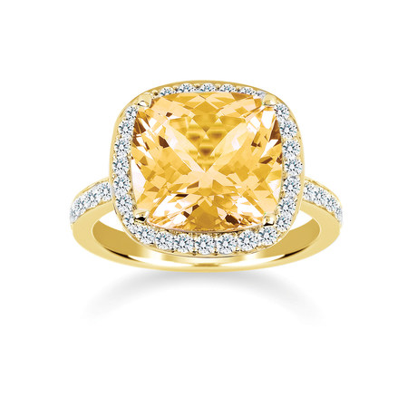 Carrington 18ct Yellow Gold 6.00ct Citrine and 0.60cttw Diamond Ring
