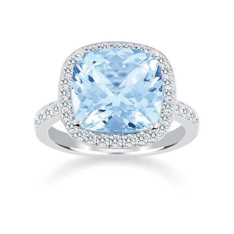 Carrington 18ct White Gold 7.80ct Blue Topaz and 0.60cttw Diamond Ring