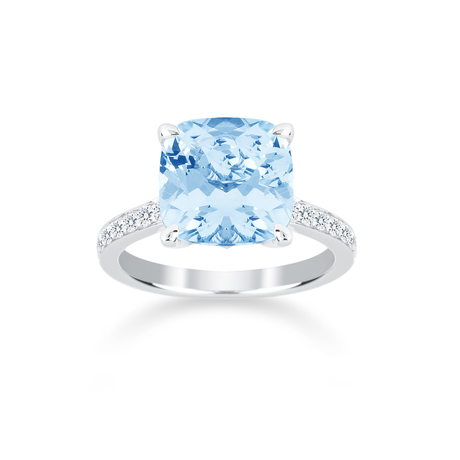 Carrington 18ct White Gold 4.60ct Blue Topaz and 0.25cttw Diamond Ring
