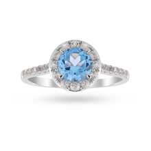 9ct White Gold 6x6mm Blue Topaz And Diamond Round Halo Ring