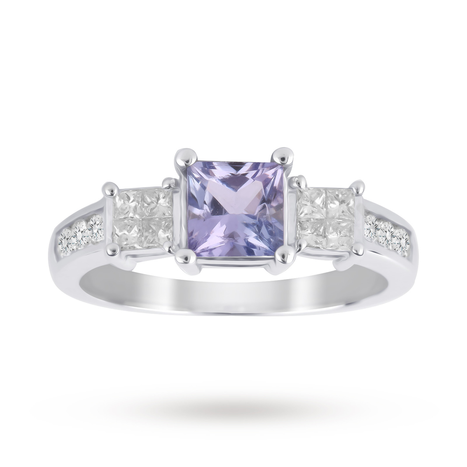 Tanzanite and Diamond Ring with Diamond Set Shoulders in 18 Carat White Gold - Ring Size J